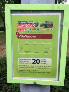 Look out for these signs across Luxembourg City to jump onto a city site seeing tour.